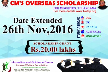 Chief Minister's Overseas Scholarship Schemeis extended to 26-11-2016